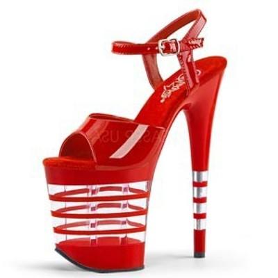 サンダル Pleaser プリーザー FLAMINGO-809LN 8 Heel (flam809ln-r-m) エナメル ストラップ クリアー ボーダー 調靴 お取り寄せ商品