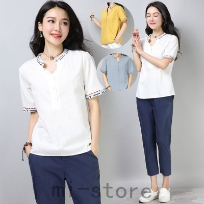 レディースリネンシャツブラウス綿麻Tシャツ二点半袖刺繍エスニック風カジュアル上着トップス大人エレガント可愛いきれいめ