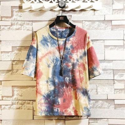 半袖Tシャツ メンズ 五分袖Tシャツ 配色 カットソー 大きいサイズ ティーシャツ クルーネック トップス 夏