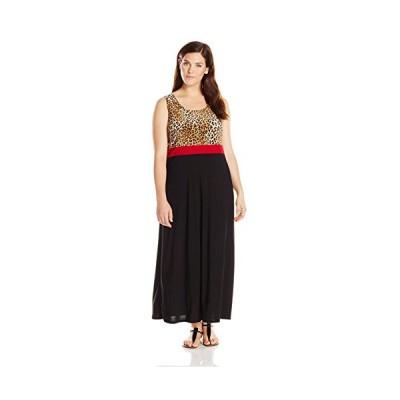 スター Vixen レディース Plus-サイズ Sleeveless プリント カラー ブロック Maxi ドレス, マルチ, 1X(海外取寄せ品)