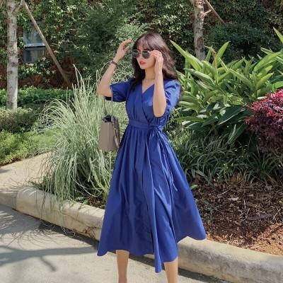 (購入オススメ)ワンピ2021春夏新作仙女スカートは腰の長いスカートを収めてやせていますVネックは青の軽くて熟した風のスカートです