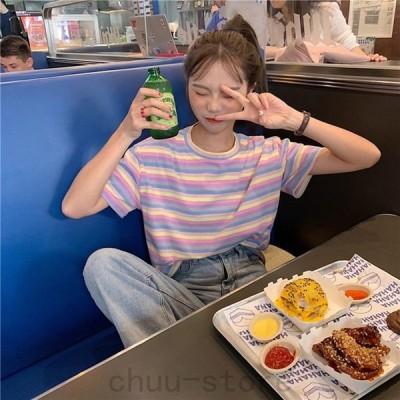 韓国Tシャツ トップスレディース 半袖 2021新作 春夏 虹色港風系 ファッショ レディース ゆるい ストライプTシャツ