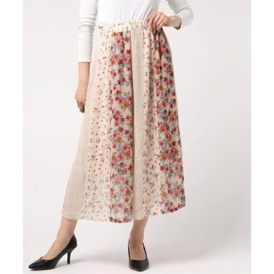 スカート シフォンパッチワーク ギャザーフレア ロングスカート