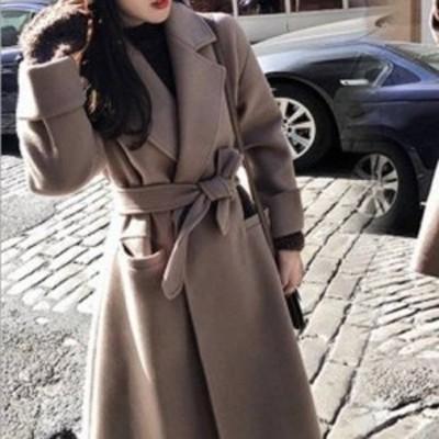 人気の定番 ロングチェスターコート 2色 ラップコート ガウンコート ベルト付き シンプル 着回し 便利 フェミニン きれいめ デイリー