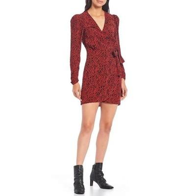 フリーピープル レディース ワンピース トップス Kinsley Ditsy Print V-Neck Puff Sleeve Faux Wrap Dress