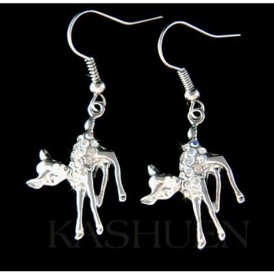 イヤリング インポート スワロフスキ クリスタル ジュエリー ~Baby Bambi Fawn Deer~ made with Swarovski Crystal Dangle Earrings Xmas Jewelry