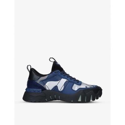 ヴァレンティノ VALENTINO GARAVANI メンズ スニーカー シューズ・靴 Rockrunner Plus leather trainers NAVY