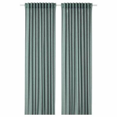 IKEA イケア カーテン 1組 グリーンブルー145x250cm n60469853 HANNALENA
