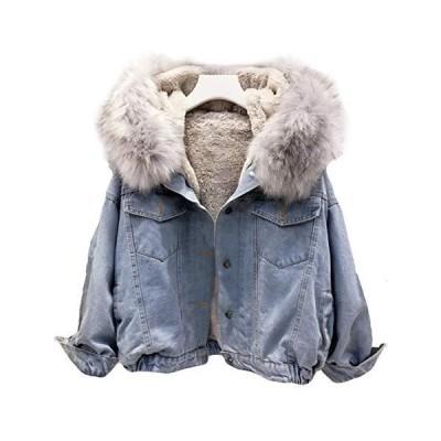 レディース デニムコート 秋 冬 ジャケット 中綿コート 無地 ライトブルー 裏起毛 あったか ロングコート ゆったり 女性用 アウター 韓国風