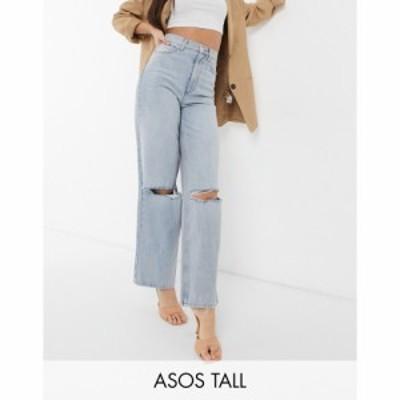 エイソス ASOS Tall レディース ジーンズ・デニム ボトムス・パンツ Tall High Rise Relaxed Dad Jeans With Rips In Lightwash ライトブ