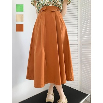MOEフレアスカート 韓国ファッション ハイウエスト スカート Aラインスカート スカートフリル ロ