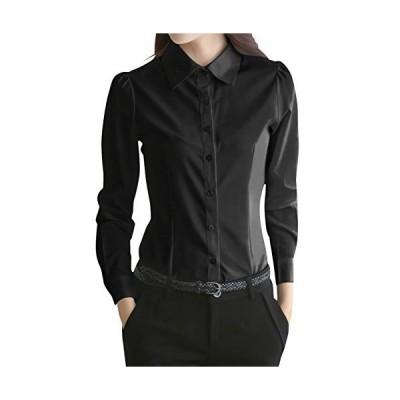 (ロンショップ)R.O.N shop レディース 長袖 ブラウス シャツ オフィス 通勤 フォーマル 白 黒 S M L XL XXL (ブラックXL