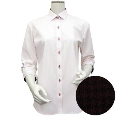 レディース ウィメンズシャツ 七分袖 形態安定 ワイド衿 ピンク×白ストライプ (COOLMAX(R))