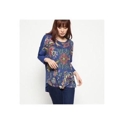 デシグアル Desigual Tシャツ3/4袖 (ブルー)