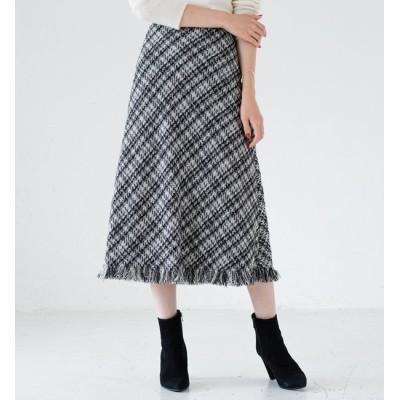 【ラウンジドレス/Loungedress】 ツイードフレアスカート