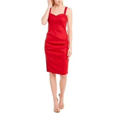 ニコルミラー レディース ワンピース トップス Nicole Miller Collection Linen-Blend Sheath Dress cranberry