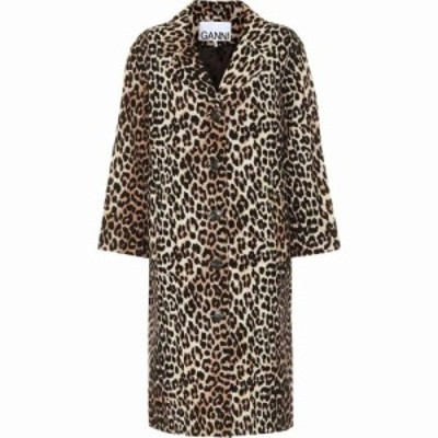 ガニー Ganni レディース コート アウター leopard-print linen and cotton coat Leopard
