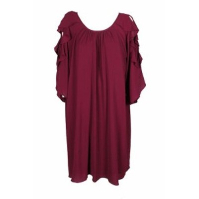Jessica Howard ジェシカハワード ファッション ドレス Jessica Howard Plus Size Wine 3/4-Sleeve Ruffle Cold-Shoulder Shift Dress 22