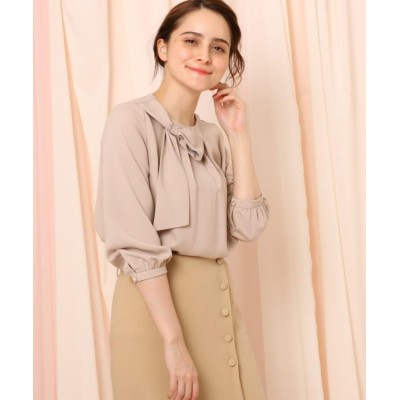 【クチュールブローチ】 リボンデザインブラウス レディース ベビーピンク 38(M) Couture Brooch