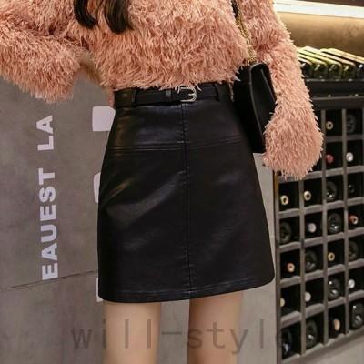 レディースPUレザースカートハイウエストタイトスリムミニ丈膝上丈ボトムス二次会お呼ばれブラックベージュブラウンSMLXLサイズ