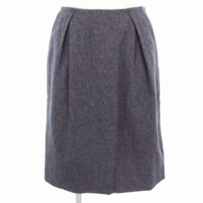 【中古】ナチュラルビューティーベーシック NATURAL BEAUTY BASIC スカート ひざ丈 タイト タック ウール混 スリット 灰 S