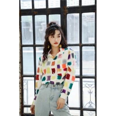 クラシックタイプ 韓国ファッション レトロ ゆったり 長袖 シャツ トップス