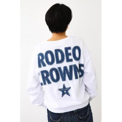 【ロデオクラウンズワイドボウル】 INDIポケットニットトップス レディース ホワイト FREE RODEO CROWNS WIDE BOWL