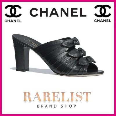 シャネル CHANEL 靴 サンダル ミュール  新作 ブラック ラムスキン リボン ココマーク CCロゴ