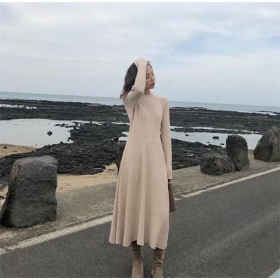 体型カバーに効く  2019 秋 冬 新作 ファッション セーター 女性 厚手 中・長セクション スリム 長袖 ゆったりする カジュアル ニットワンピース
