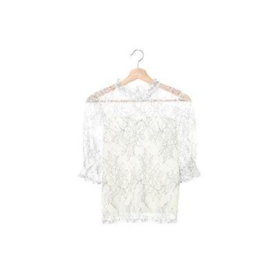 イング INGNI 配色レースH/N半袖TOPS (アイボリー)