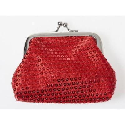 キラキラ スパンコール飾り レディース 女性用 がま口 財布 小銭入れ ミニポーチ Sサイズ#レッド