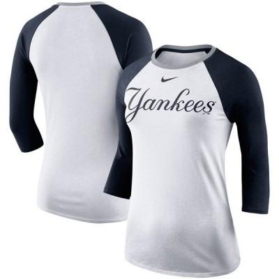 ナイキ レディース Tシャツ トップス New York Yankees Nike Women's Tri-Blend Raglan 3/4-Sleeve T-Shirt