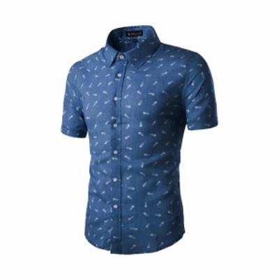 Allegra K メンズ シャツ 半袖 ボタンダウン 綿 ビジネス カジュアル ネイビーブルー M/38