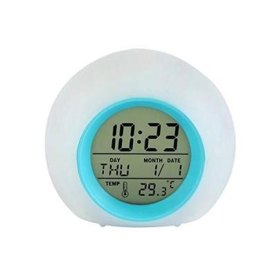 光目覚まし時計 置き時計 デジタル時計 アラーム Lancardo 多機能 七色バックライト 自然音 見やすい 温度カレン