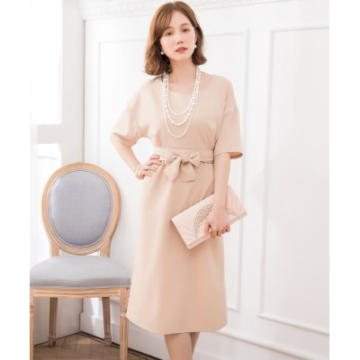 【ドレス スター】 2WAYウエストリボンワンピースドレス レディース ベージュ XXXLサイズ DRESS STAR