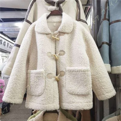 コート レディース ボア ジャケット ゆったり ブルゾン 厚手 ボタン 大きいポケット 可愛い 暖か おしゃれ 体型カバー 保温 アウター ドロップショルダー