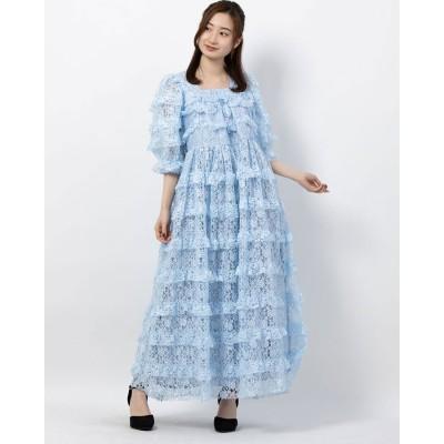 ドリーム シスタージェーン DREAM sister jane Sweatheart Ruffle Midi Dress (BLUE)