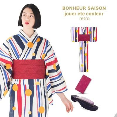bonheur saisons 三吉彩花 着用 ボヌールセゾン レディース 浴衣 3点セット  ストライプ ドット この夏一押しの浴衣!