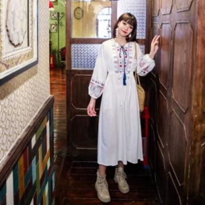 ロングワンピース 刺繍ワンピース レディース フリンジ パフスリーブ リボン エスニック リゾートワンピ ファッション 新作 きれいめ お