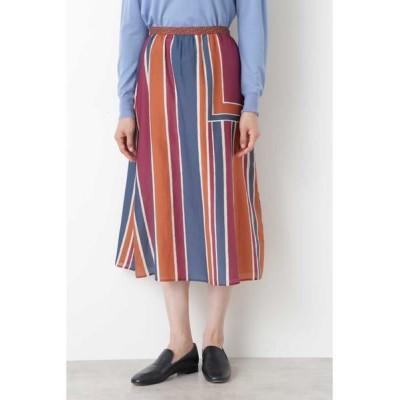 HUMAN WOMAN/ヒューマンウーマン コットンシルクアーティパネルプリントスカート オレンジ系3 M