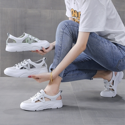 LN  現+預 韓版側邊簍空透氣小白鞋(休閒鞋/平板鞋)