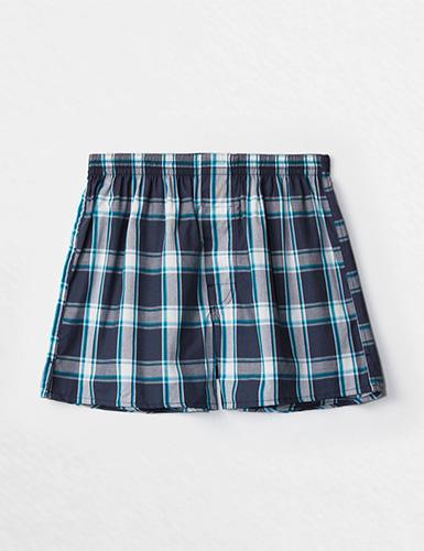 (男款)格紋控.平織舒適四角內褲(白/水藍/深藍格)