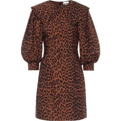 ガニー Ganni レディース ワンピース ワンピース・ドレス Leopard-Print Cotton Minidress Toffee
