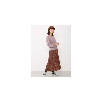 Avan Lily ブーケフラワープリーツスカート 柄ブラウン
