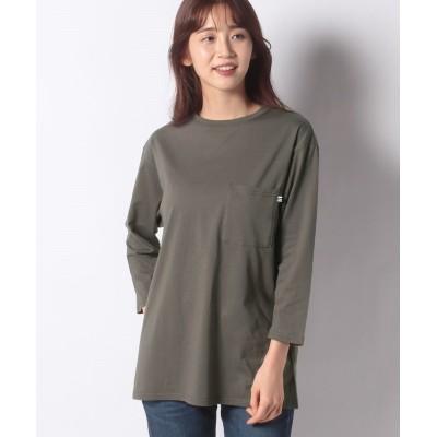【プレフェリール】 ポケット付きロングTシャツ レディース カーキ 36 PREFERIR