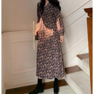 韓国 ファッション レディース ワンピース 花柄 ロング Vネック フレア 長袖 きれいめ 上品 ゆったり レトロ 大人可愛い ヴィンテージ