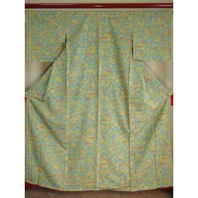 ko-042 小紋「細やかなドット柄に花と植物文様 縮緬(ちりめん)織り 正絹」着丈約165cm(肩より)、裄丈約66cm、袖丈約47cm、前幅約24cm、後幅約29.5cm