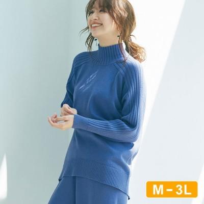 Ranan 【M~3L】サイドリブハイネックニットプルオーバー ブルー LL レディース