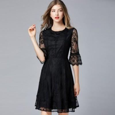 ワンピース 大きいサイズ 袖あり 長袖 六分袖 結婚式 花柄 総レース パーティードレスぽっちゃり ドレス