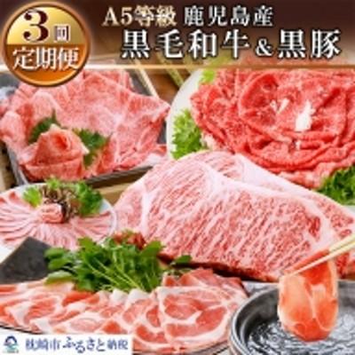 EE-0028 定期便 鹿児島産A5等級黒毛和牛&黒豚(3回配送)